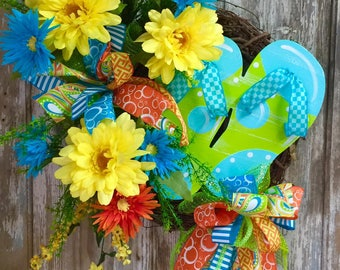 Flip Flop Wreath, Grapevine Wreath, Spring Wreath, Front Door Wreath, Home Decor, Summer Decor, Nautical Decor, Beach Decor