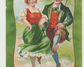Vintage Postcard, St Patricks Day, Lad and Lass, Irish Breakdown, ca 1910