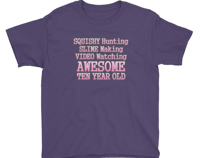Squishy Hunting, Slime Making, Video Watching, Awesome Ten Year Old T-shirt