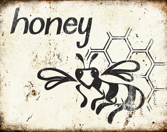 "Honey // Farm Fresh // Metal Sign // 12"" x 16"""