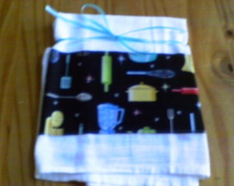 Flour Sack Dish Towels With Vintage Kitchen Utensils and Appliances