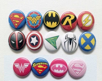 1 inch Superhero pin back buttons