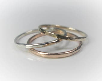 3 Silver/Gold/Rose Gold Stacking Rings, Choice of 3 Metals, Choice of 1mm & 1.3mm Widths, Set of Three Hammered Stacking Rings