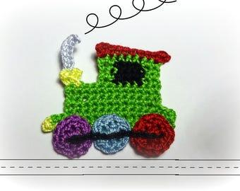 applied crochet locomotive, train
