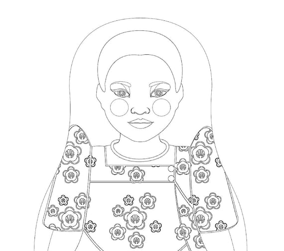 Ugandan Doll Traditional Dress Coloring Page Printable Matryoshka