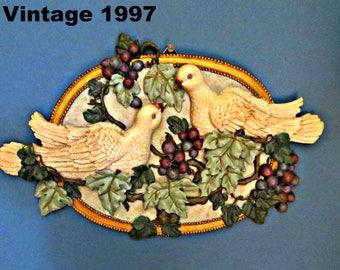 Dove Grapes wall decor vintage 1997 home decor wall art