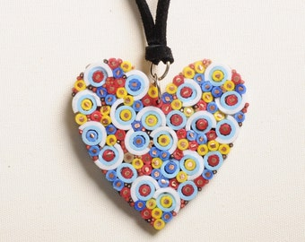 Electric wires heart necklace, FREE SHIPPING, colorful Pendant, heart charm, Heart jewelry, gift for her, simple boho bohemian charm