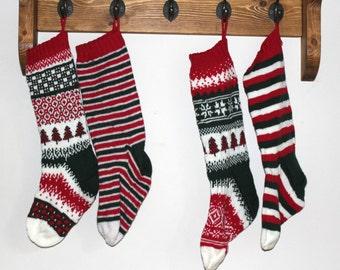 KNITTING PATTERN Christmas Stockings Stranded Colourwork Knitting Pattern Fair Isle Stitch Decoration Seasonal Winter Accessory