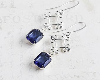Sapphire Blue Earrings, Rhinestone Dangle Earrings with Silver Plated Drops, Navy Blue Bridesmaid Jewelry rsw1