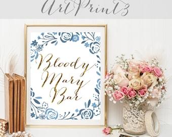 Bloody Mary Bar Sign Printable, Rustic Wedding Sign Printable, Floral Wedding Sign Printable, Gold Bloody Mary Wedding Printable Party Decor