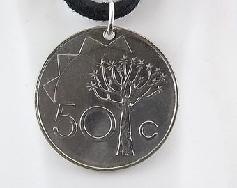Namibia Coin Necklace, Mens Necklace, Womens Necklace, Coin Pendant, Leather Cord, Birth Year, 1993