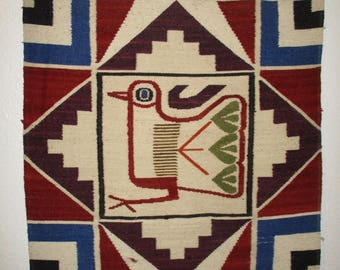 Vintage Tribal Rug Weaving Wall Hanging Peruvian Woven Textile Wall Art