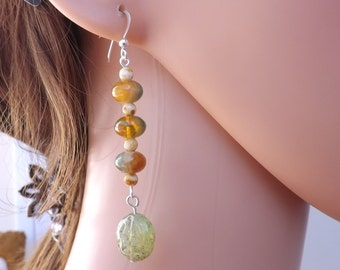 Czech glass drop earrings, green earrings, glass dangle earrings, multi earrings, summer earrings, autumn earrings