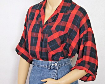 Blouse Vintage Red Plaid Ladies Shirt Lightweight Cotton Lumberjack Blouse 1980's Size Small