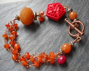 Carnelian, Cinnabar copper, and red jade bracelet with copper togle clasp