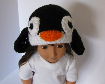 "18"" Doll PENGUIN BEANIE.   Doll beanie.  Hand crocheted.  Doll hat. Accessories. Hat.  Crocheted doll hat.  Fits American Girl Dolls."
