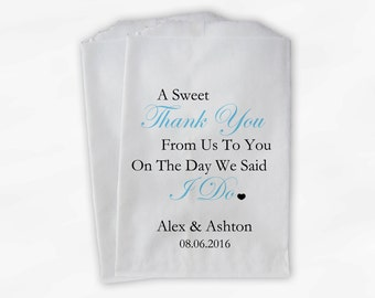 Sweet Thank You Wedding Candy Buffet Treat Bags - Aqua and Black Personalized Favor Bags with Couple's Names and Wedding Date (0054-6)