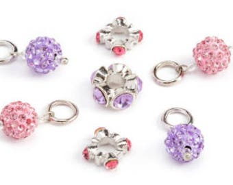 630 - Pave, Rhinestone, Pink and Purple - Package of 21