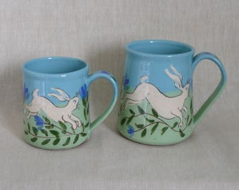 Hare mug. Pottery mug. Two sizes. Running hare mug. Wildlife lovers mug