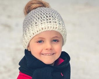 Kids Hat- Back to school- Kids Ombre Messy Bun Hat- Crochet Messy Bun Hat- Messy Bun Beanie- Mommy and Me- Ponytail Hat- Mommy and Me outfit