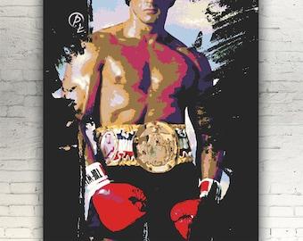 "Rocky - CANVAS - 16""x12"" - artwork print on cotton canvas - alternative movie poster Sylvester Stallone Balboa"