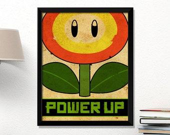 Super Mario flower, video game poster, Nintendo poster, vintage games