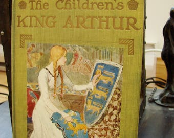 The Children's King Arthur Tennyson Malory 1900 Beautiful Color Plates Hardcover Original  First print