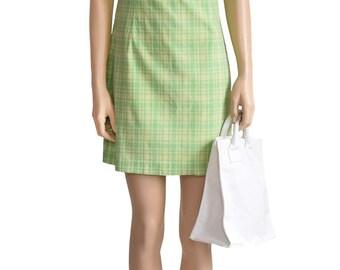 Vintage 1990s Dress, 90s Green Plaid Cotton Dress, Size Small, J. Crew Dress, Summer Noon Dress