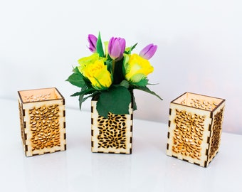 Wedding wood candle holder centerpiece, flower pot centerpiece holder for party decoration, baby shower decoration, office desk decor