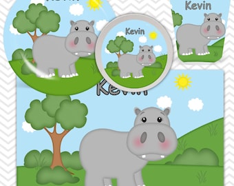Hippo Plate, Bowl, Cup, Placemat - Personalized Zoo Dinnerware for Kids - Custom Tableware