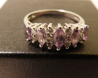 Vintage Purple Amethyst Sterling Silver Ring