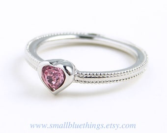 Heart Ring ~ Small Pink Heart Ring ~ Swarovski Light Rose Heart Ring ~ Dainty Ring ~ Pinky Ring ~ Valentine's Day ~ Gift for Her