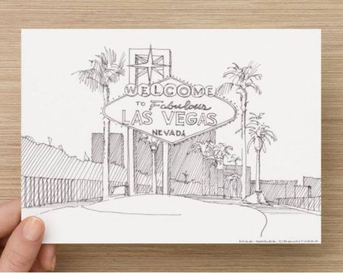 Ink Drawing of Welcome to Fabulous Las Vegas Sign - Nevada, Vegas Strip, Sketch, Art, Print, 5x7, 8x10, Pen and Ink, Urbansketcher