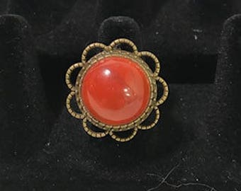 Carnelian Cabochon Adjustable Statement Ring