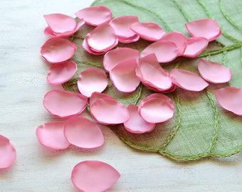 Satin leaf appliques, rose petals, fabric embellishment, drop shape wedding scatter petals, silk petals bulk (50pcs)- CARNATION PINK SATIN