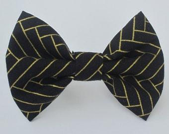 Gold Herringbone on Black Bow Tie-  Medium