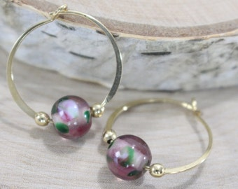 Gold filled hoop earrings Purple floral glass bead endless round handmade