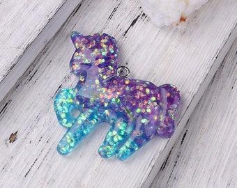 2 Purple/Blue Glitter Resin Unicorn Pendants 37 x 36mm (B473c)