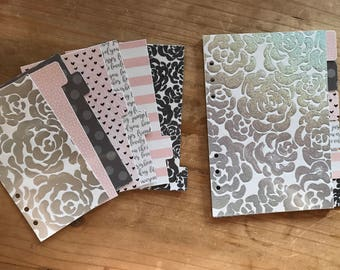 Holographic grey and pink planner dividers. Available in pocket, personal, recollections, day planner, A5, and happy planner sizes.