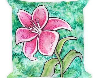 Pink Lily Galaxy Watercolor - Square Pillow