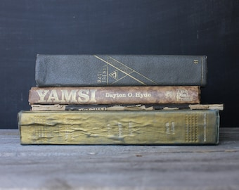 Set of 4 worn books, Vintage book stack set, Earthy tone book set, Worn antique books for shelf, Stack of old books, Neutral color books