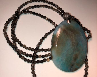 Large Brown Turquoise Pendant Bead Necklace