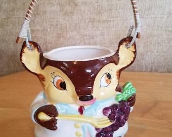 Royal Sealy Deer Wooden Spoon Utensil Holder Vintage  Kitchen Decor Japan