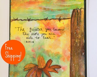 Flower watercolor / Nature watercolor / Wildflower art / Rumi / Quote art / Rumi quotes/ Free shipping  /