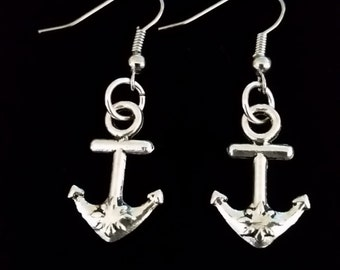 Ocean adventure silver colored pewter anchor dangle hook coil earrings