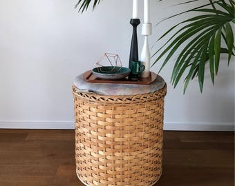 70s Laundry basket stool made of rattan with lid
