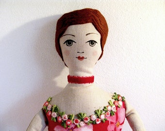 Linen Damsel - Cloth doll, lady plush, recycled fabric, Victorian woman, Red Dress, Painted face and shoes