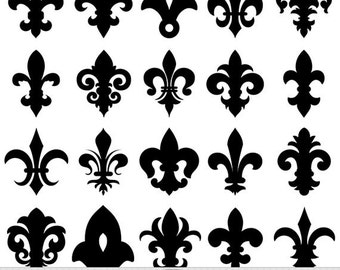 Fleur De Lis Clipart Vector Fleur De Lis Digital Scrapbooking Invitations Heraldic Logo Clipart Silhouette Clipart Instant Download