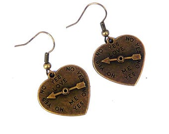 Earrings heart wing needle arrow love yes bronze No.