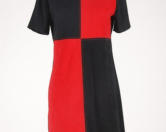 Faux Suede Patchwork Bold Black & Red Dress Fall